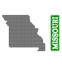 Dotted map of missouri state and grunge rectangle vector