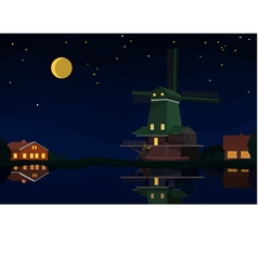 Dutch landscape at night vector