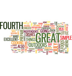 Excellent menu for a great fourth outdoors text vector