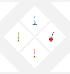 Flat icon mop set of equipment sweep bucket and vector