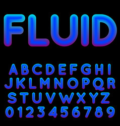 fluid shapes font with hipster colors vector image
