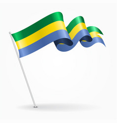 gabon pin wavy flag vector image