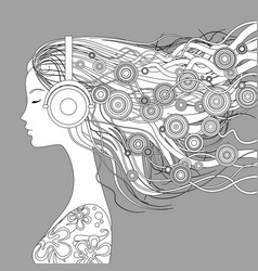 girl half-face with loose hair and abstract vector image