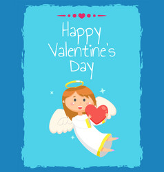 girl holding hear happy valentine day vector image