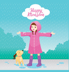 Girl in pink raincoat stretch arms happily in the vector