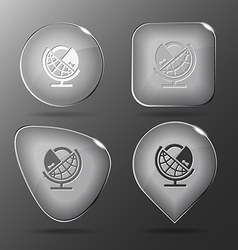 Globe and lock Glass buttons vector