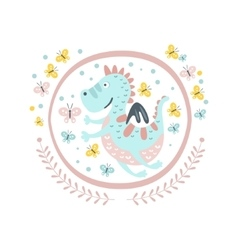 Good Dragon Fairy Tale Character Girly Sticker In vector