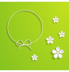 Green spring background with a frame vector