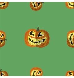 Halloween Smiling Pumpkin Seamless Pattern vector image