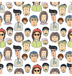hand drawn seamless pattern with crowd of funny vector image