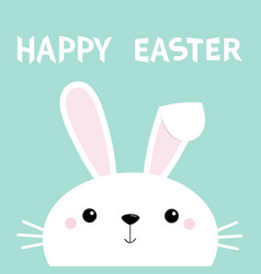 Happy easter bunny rabbit face cute cartoon vector
