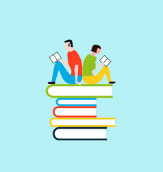 happy people reading on tower of books - colorful vector image
