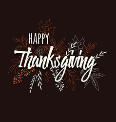 happy thanksgiving day card with floral vector image