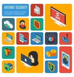 Internet Security Decorative Isometric Icons vector