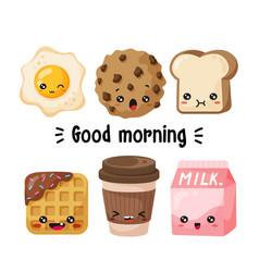 Kawaii breakfast characters vector