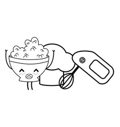 kitchen and food kawaii cartoons in black and vector image