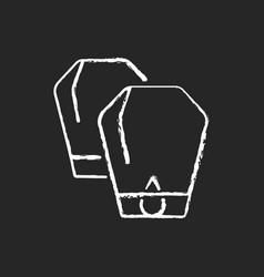 Lantern festival chalk white icon on black vector