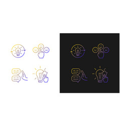 Logical and rational thinking gradient icons set vector