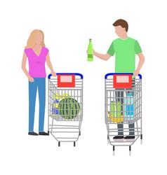man and woman at supermarket vector image