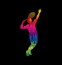 Man tennis player sport pose serve vector