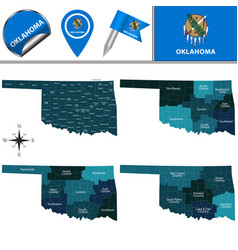 Map of oklahoma with regions vector