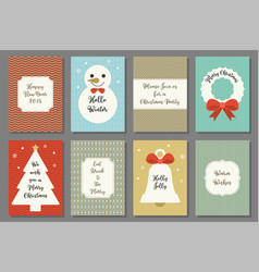 merry christmas typography on retro frame vector image