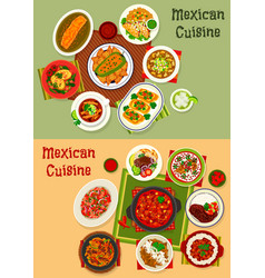 Mexican cuisine dishes dinner set vector