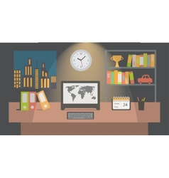 Office workspace interior nighttime flat vector