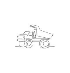 one single line drawing big mining dump truck vector image