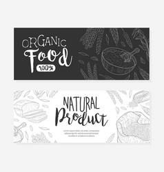 Organic food natural product banner templates set vector