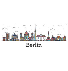 outline berlin germany city skyline with color vector image