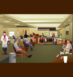 Patients waiting in a hospital waiting room vector