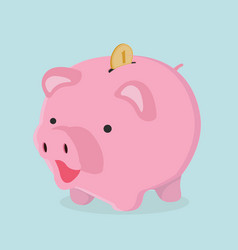Piggy bank with coin savings concept vector
