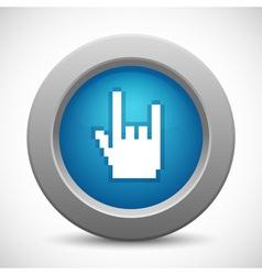 Pixel rock hand button vector