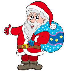 Santa claus with more gifts vector
