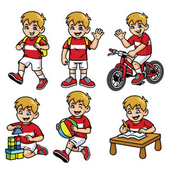 School boy set in various poses and activities vector