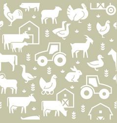 seamless pattern farm animals buildings vector image