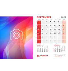 September 2019 desk calendar design template with vector
