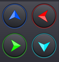 Set of black buttons with colored direction arrows vector