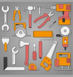 set of hand tools on a gray background with shadow vector image