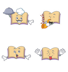Set of open book character with chef trumpet vector