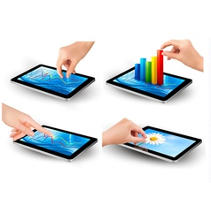 Set of tablet screen with graph and a hand vector image
