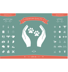 Shelter pets sign icon hands holds paw symbol vector