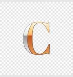 Silver and gold font symbol alphabet letter c vector