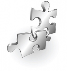 Silver metallic jigsaw pieces vector