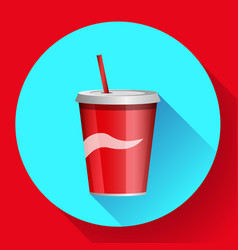 soda bottle with red lable flat icon vector image