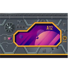 spaceship interior with window rocket room game vector image