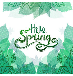 spring card with handwritten lettering vector image