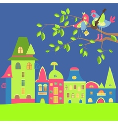 Spring cityscape with birds in love vector image