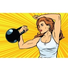 Strong woman athlete with weights vector